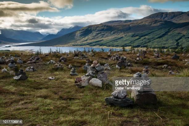 Cairns overlooking Loch Loyne