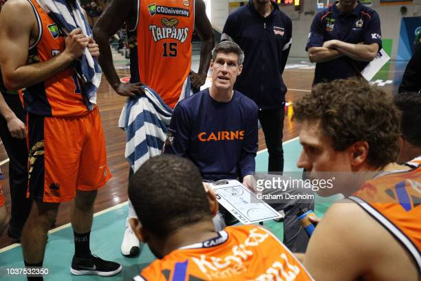 Cairns Taipans Head Coach Mike Kelly talks to his players during the 2018 NBL Blitz match between the Cairns Taipans and Perth Wildcats at Ballarat...