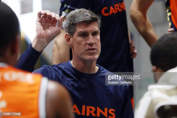 Cairns Taipans Head Coach Mike Kelly talks to his players during the 2018 NBL Blitz match between the New Zealand Breakers and Cairns Taipans at...
