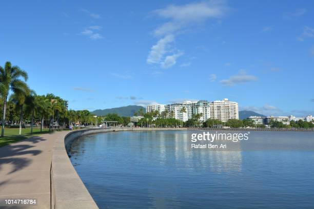 cairns waterfront skyline in the tropical north of queensland, australia. - cairns stock photos and pictures