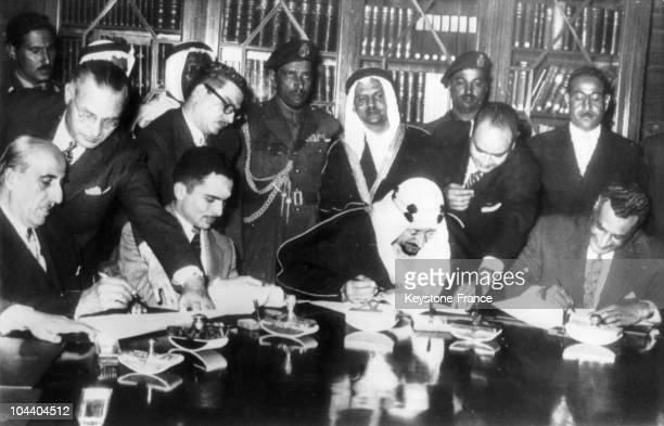 Cairo after the Suez Crisis and the Sinaï War certain leaders of the Arab League KUWATLY Syrian President King HUSSEIN of Jordan King ABD ALAZIZ IV...