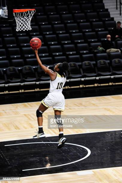 Cairo Booker guard Wofford College Terriers goes in for a layup and two of her 16 points at the end of an effective fast break against the UNC...
