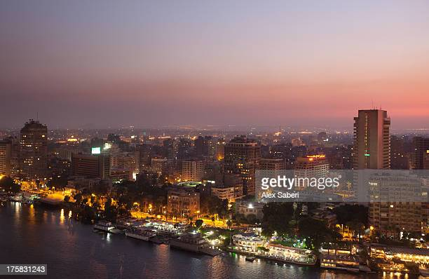 cairo city at dusk. - alex saberi stock pictures, royalty-free photos & images
