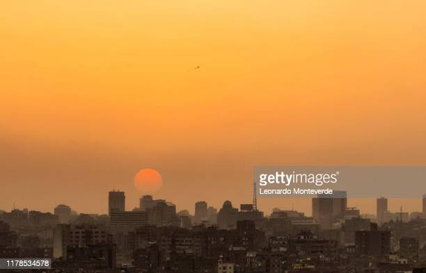 cairo city sunset - north africa stock pictures, royalty-free photos & images
