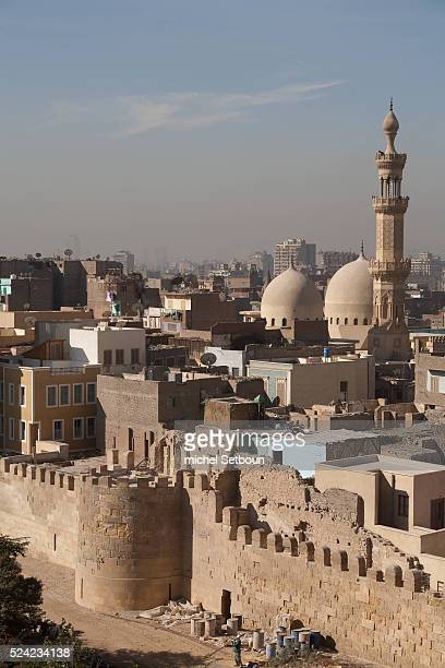 Salah AlDin walls restauration in old Cairo By the Aga Khan foundation mosque KHAYERBEG after renovation and the mosques SULTAN HASSAN and AL RIFAI...