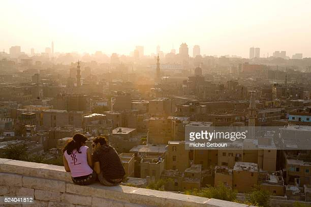 the OLD CITY view from Al Azhar Park in the old islamic city a project of the Aga Khan foundation Cairo
