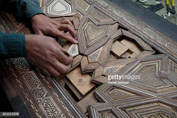 WORKSHOP Mosque mausoleum of KAYRBAK NM248 under renovation by the Agha Khan fondation in Darb al Ahmar street restoration workshop for the...
