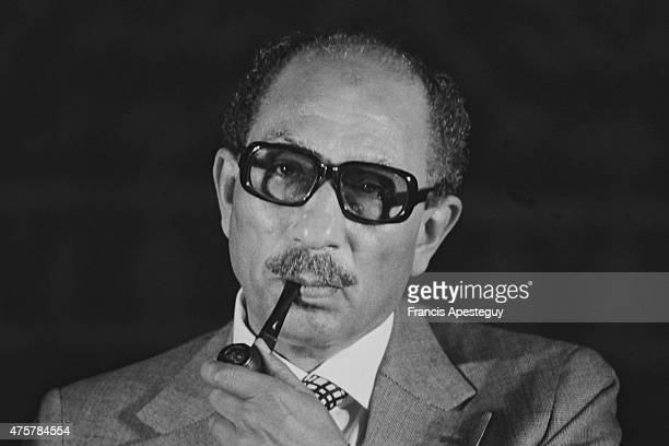 Cairo Egypt Egyptian president Anwar Sadat during the first peace summit between the Israel and Egypt