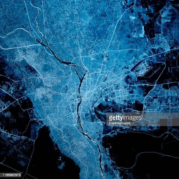 cairo egypt 3d render map blue top view jul 2019 - frankramspott photos et images de collection