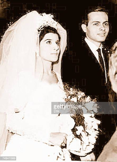 A file photo dated 1966 shows Egyptian billionaire Ashraf Marwan on his wedding day with his bride Mona Abdel Nasser daughter of late Egyptian...