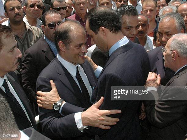 Ahmed Marwan son of Egyptian billionaire Ashraf Marwan receives condolences from Gamal Mubarak leader of the National Democratic Party and son of...