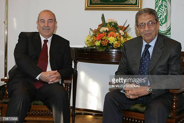 Arab league Secretary General Amr Mussa meets with Iyad Allawi member of Iraqi parliament and head of the Iraqi National list in Cairo 23 December...