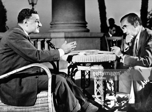 Cairo, Egypt, Colonel Gamal Abd al-Nasser the Egyptian statesman is interviewed by the world famous American Television commentator Ed Murrow, The...