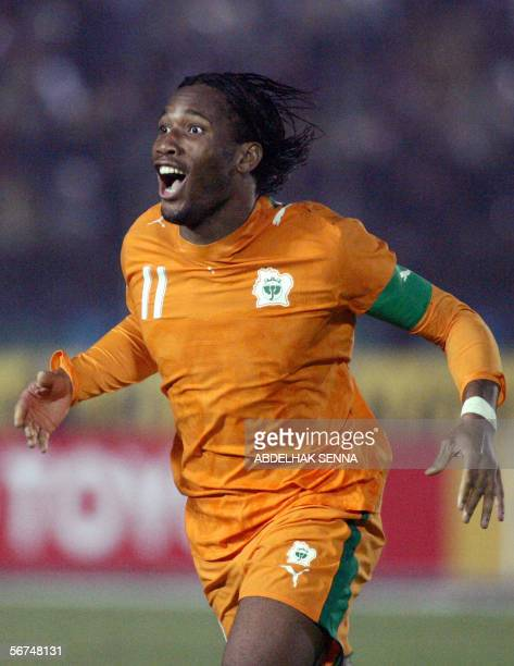 Didier Drogba of Ivory Coast celebrates during his African Nations Cup quarterfinal match against Cameroon 04 February 2006 in CairoThe match...