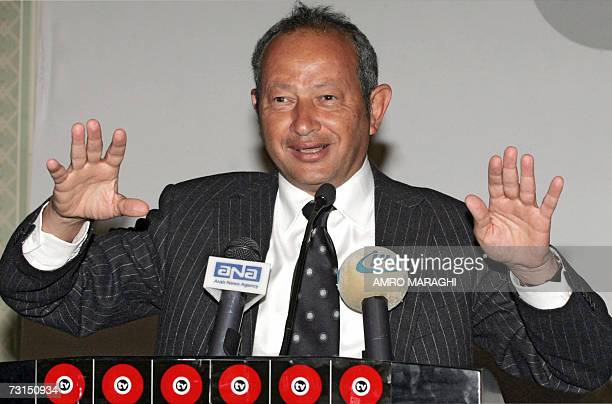 Egyptian entrepreneur Naguib Sawiris speaks during a press conference to announce the launching of 'O TV' new general satellite channel in Cairo 30...