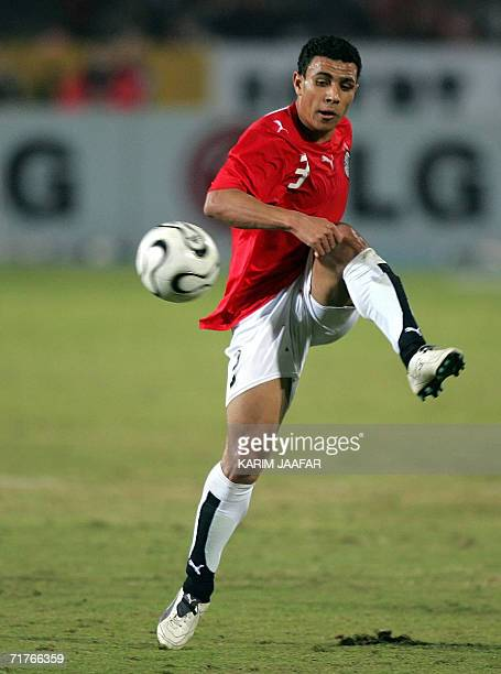 Egyptian football player Mohammed Abdel Wahab shoots the ball during his national team's African Nations Cup preliminary football match against...