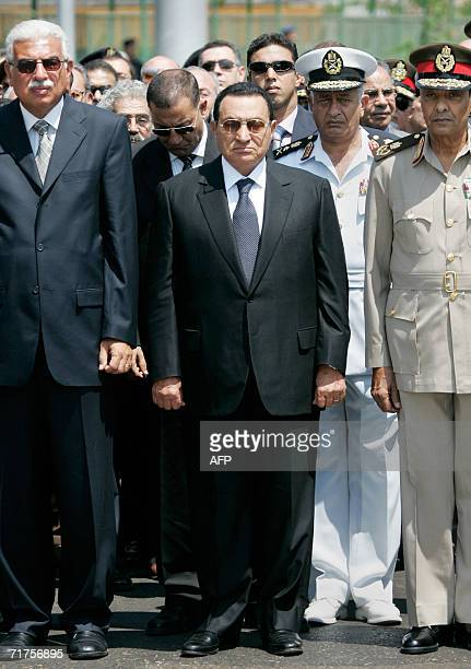 Egyptian President Hosni Mubarak Prime Minister Ahmed Nazif and Defense Minister Field Marshal Mohammed Hussein Tantawi lead a military funeral...