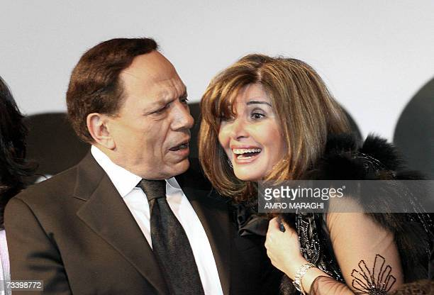 Egyptian top actor Adel Imam shares a moment with actress Mervat Amin during a press conference to announce their new movie 'Murjan' in Cairo late 22...
