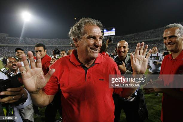 Egypt's AlAhly club Portuguese coach Manuel Jose looks blissful after his team won 43 in the final football match of Egypts cup against Zamalek club...