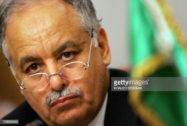 Libyan Prime Minister Baghdadi Mahmudi holds a joint press conference with his Egyptian counterpart Ahmed Nazif in Cairo 20 December 2006. Mahmudi is...