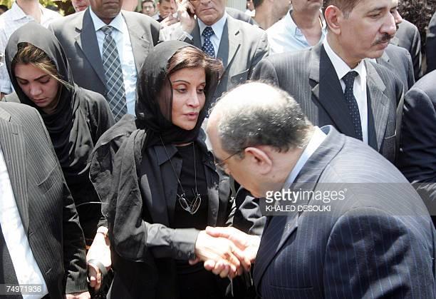 Mona Abdel Nasser daughter of former Egyptian president Gamal Abdel Nasser and wife of Egyptian billionaire Ashraf Marwan receives condolences during...