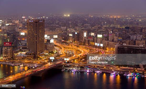 Cairo, Egypt, November 29, 2014. -- The Nile river and Cairo are seen from the Cairo tower at sunset.