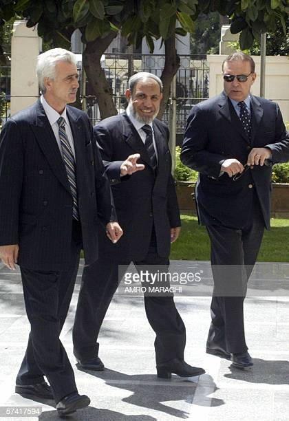 Palestinian Foreign Minister Mahmud Zahar arrives at the Arab League headquarters in Cairo for a meeting with Arab League Secretary General Amr Mussa...