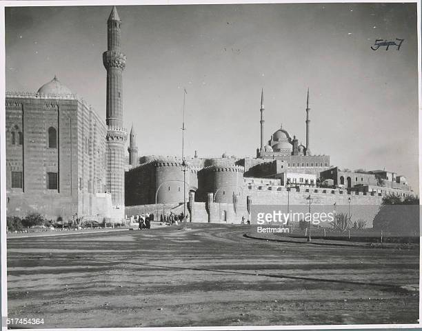 Photo shows the exterior of the Citadel of the Port with the Mohammed Ali Mosque in the back Undated b/w photograph