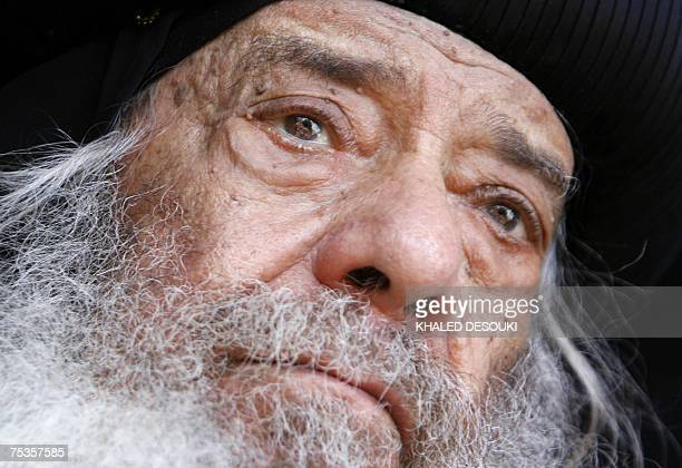 Pope Shenouda III head of the Coptic Orthodox Church Patriarch of Alexandria and the See of St Mark attends a ceremony held at the alAbbasiya church...