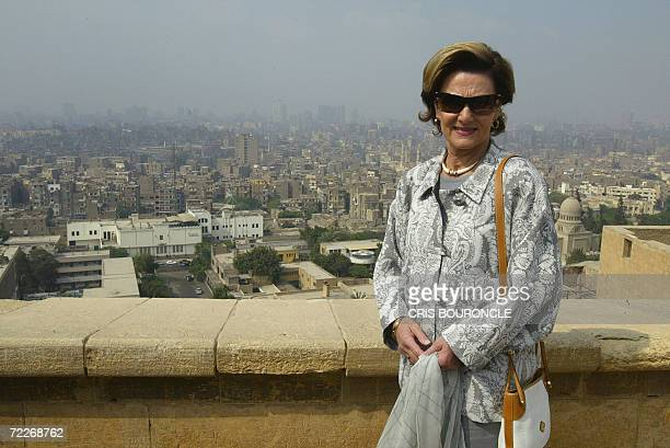 Queen Sonja of Norway poses for photographers in a viewpoint where most of Cairo can be seen while visiting the Muhammad Ali Mosque in the ancient...