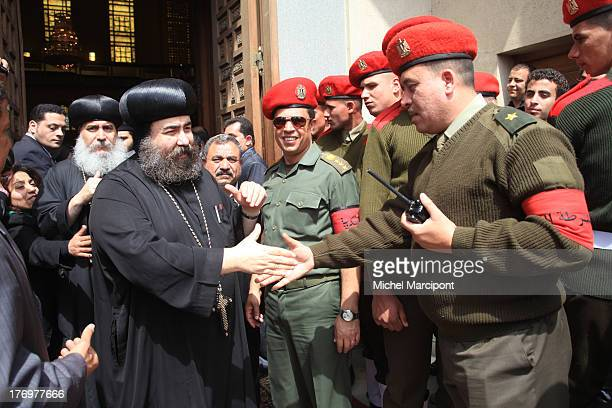 Cairo- Egypt- Tens of Thousands mourners are gathering in front of Abbasiya Cathedral for the funeral of the Pope Shenouda III, head of Egypt's...
