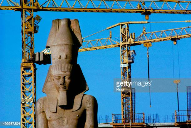 1992 Cairo Egypt The majestic statue of Ramses surrounded by construction cranes Initially located near the subway on the main square of the train...