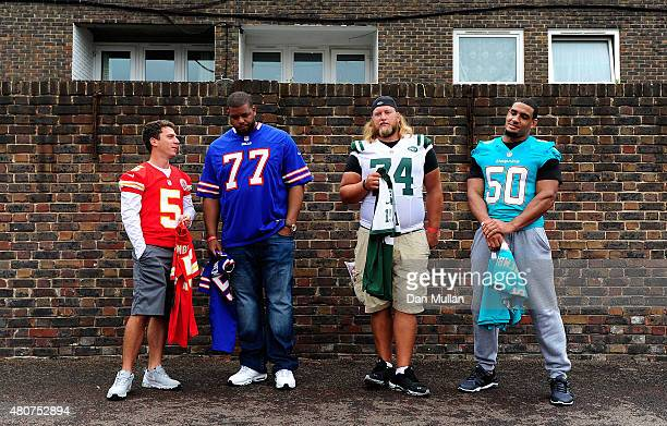 Cairo Santos of Kansas City Chiefs Cordy Glenn of Buffalo Bills Nick Mangold of New York Jets and Olivier Vernon of Miami Dolphins pose during the...
