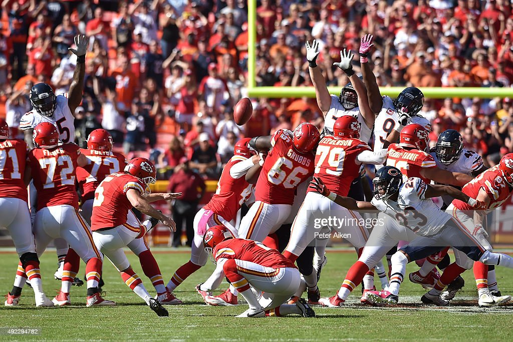 Cairo Santos (5) of the Kansas City Chiefs attempts a field goal at the end of the game at Arrowhead Stadium during the game on October 11, 2015 in Kansas City, Missouri.