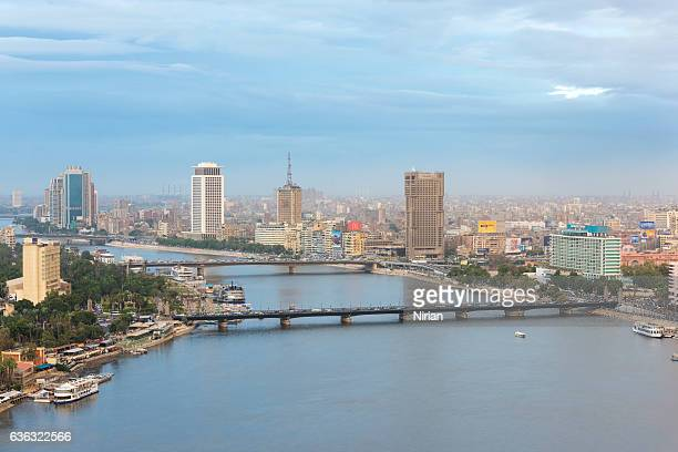 cairo skyline along nile river - cairo stock pictures, royalty-free photos & images