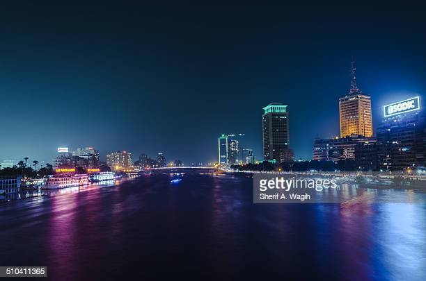Cairo skyline by the Nile river at night