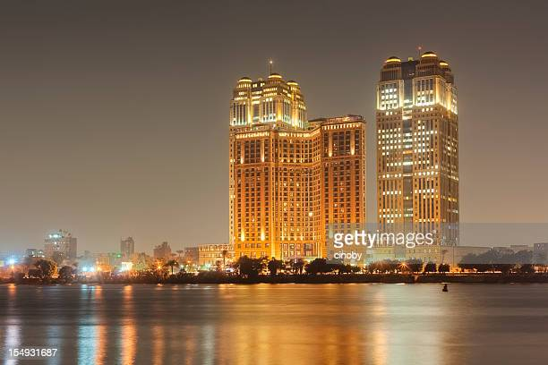 cairo skyline - fairmont nile city towers - cairo stock pictures, royalty-free photos & images