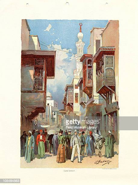 Cairo Street Egypt on Midway Plaisance Color lithograph by C Graham from The Chicago Tribune Art Supplements Chicago Illinois June 1 1893