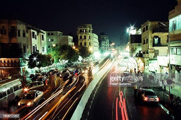Cairo traffic at night