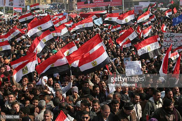 Cairo-Egypt - more than one million Egyptian celebrate the 25th January Revolution in Tahrir Square