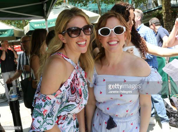 Caissie Levy and Patti Murin from the cast of Frozen attend 1067 LITE FM's Broadway in Bryant Park on August 2 2018 in New York City