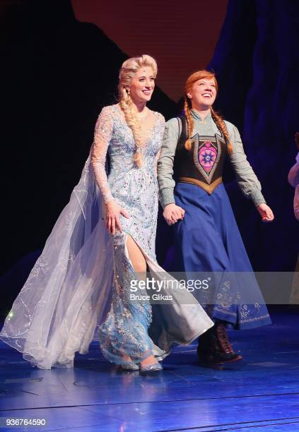Caissie Levy as Elsa and Patti Murin as Anna take their opening night curtain call of Disney's new hit musical Frozen on Broadway at The St James...