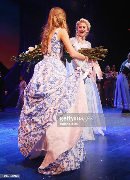Caissie Levy as Elsa takes her opening night curtain call of Disney's new hit musical Frozen on Broadway at The St James Theatre on March 22 2018 in...