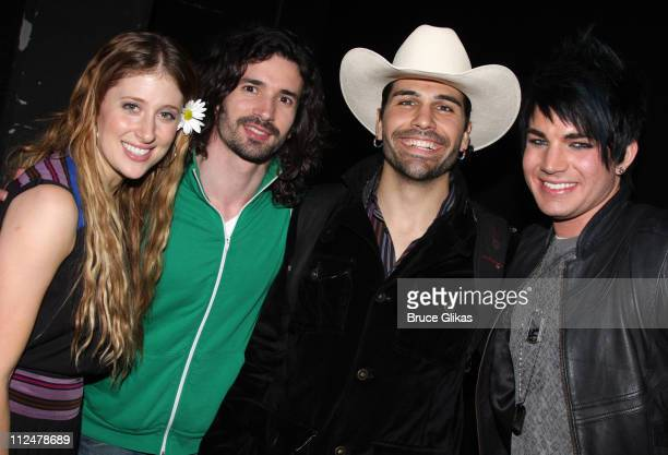 Caissie Levy Paris Remillard Steel Burkhardt and Adam Lambert pose backstage at the hit revival of 'Hair' on Broadway at the Al Hirschfeld Theatre on...
