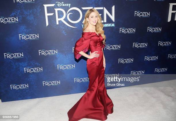 Caissie Levy poses at the opening night after party for Disney's new hit musical Frozen on Broadway at Terminal 5 on March 22 2018 in New York City