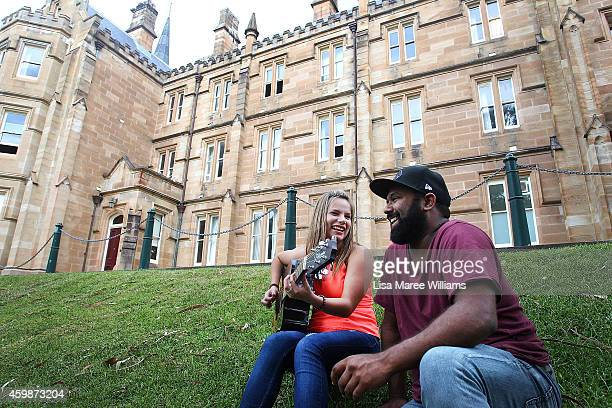 Caitie Hughes sits with AIME mentor Jeremy Marou at St Andrews College on December 3 2014 in Sydney Australia Caitie Hughes from Yeppoon is the...
