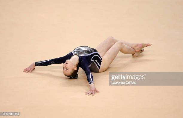 Caitlan Williams of Robin Hoood Gymnastics Club performs her floor routine during The Women's Junior AllAround Subdivision 2 Round during the...