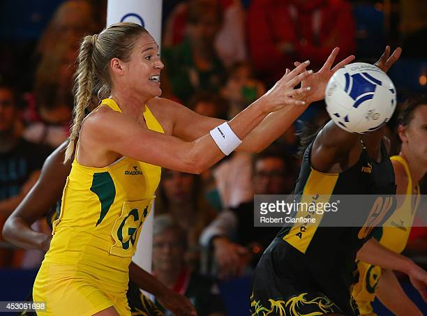 Caitlin Basset of Australia receives the ball during the netball semi final between Australia and Jamaica at SECC Precinct during day ten of the...