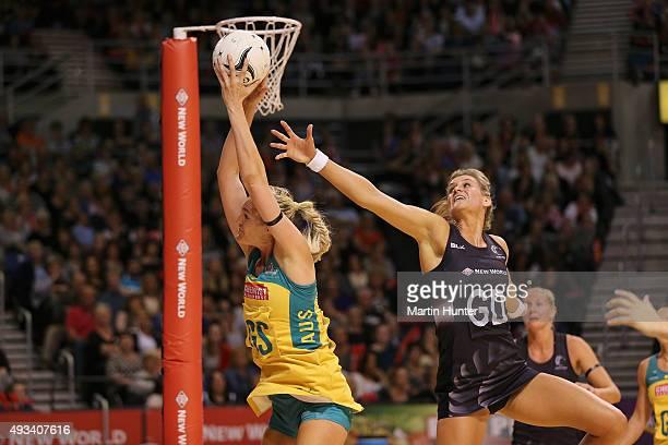 Caitlin Bassett of Australia battles with Leana de Bruin of New Zealand during the International Test match between the New Zealand Silver Ferns and...