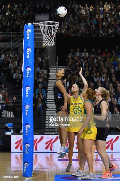 Caitlin Bassett of Australia shoots at goal during the 2017 Constellation Cup match between Australia Diamonds and the New Zealand Silver Ferns at...